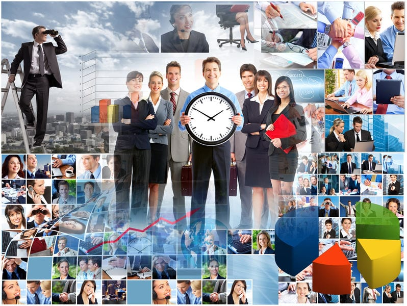 Business people collage. Teamwork concept background. Success.