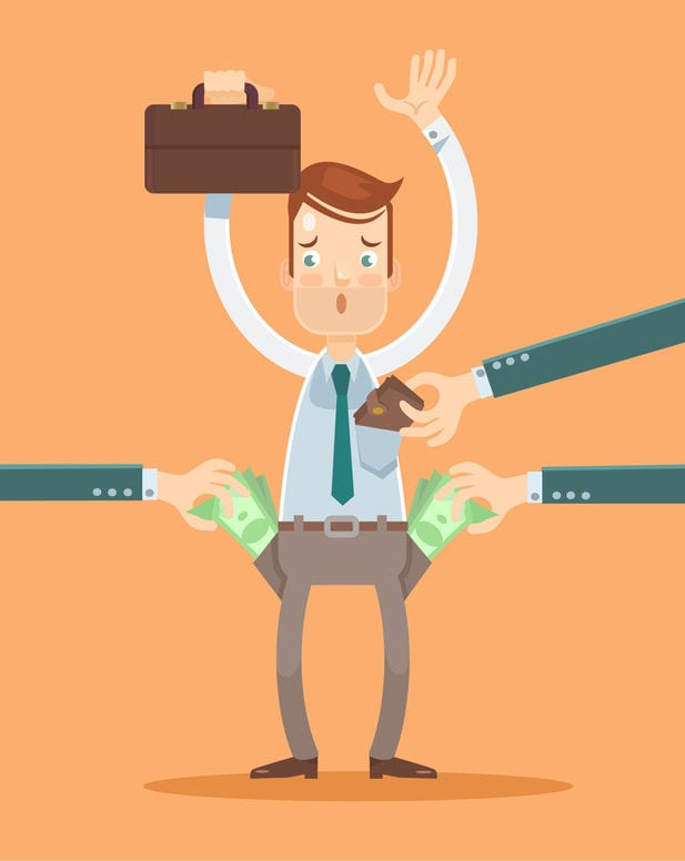 48675630 - office worker get robbery. vector flat illustration