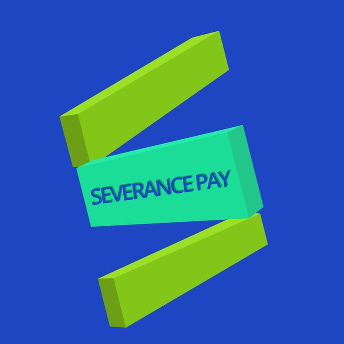 Text sign showing Severance Pay. Conceptual photo Amount paid to an employee on the termination of a contract.
