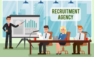 Recruitment Agency Vector Illustration with Text. HR Managers at Meeting, Conference. Business Coach Pointing at Whiteboard. Graph, Diagram on Flip Chart. Business Presentation. Office Interior