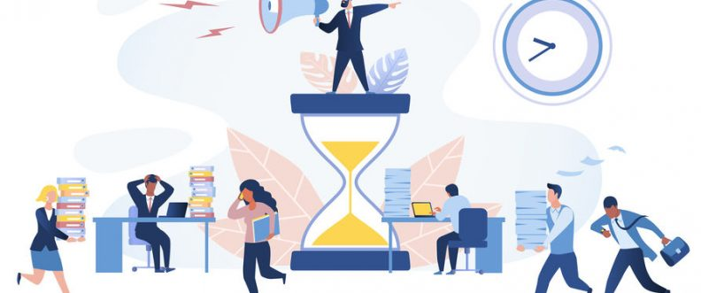 Time management concept. Multiracial office workers trying to finish work on time. Working in high stress conditions and under hard boss pressure. Vector illustration