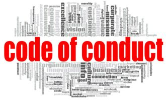 Code of conduct word cloud concept on white background, 3d rendering.