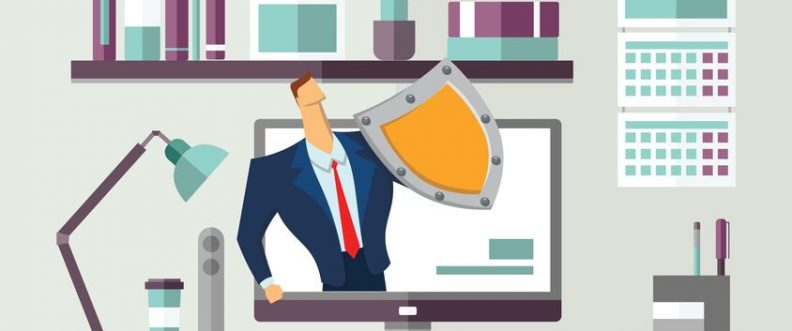 Man in business suit with a shield protecting computer on office desk. Protecting your personal data. GDPR, RGPD. General Data Protection Regulation. Concept flat vector illustration. Horizontal.
