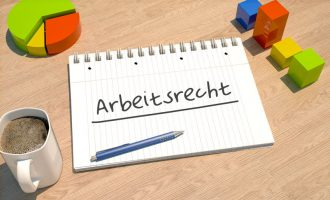 Arbeitsrecht - german word for labor law - text concept with notebook, coffee mug, bar graph and pie chart on wooden background - 3d render illustration.